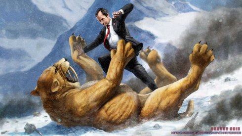 richard_nixon_fighting_a_saber_tooth_tiger_by_sharpwriter-d6bln06