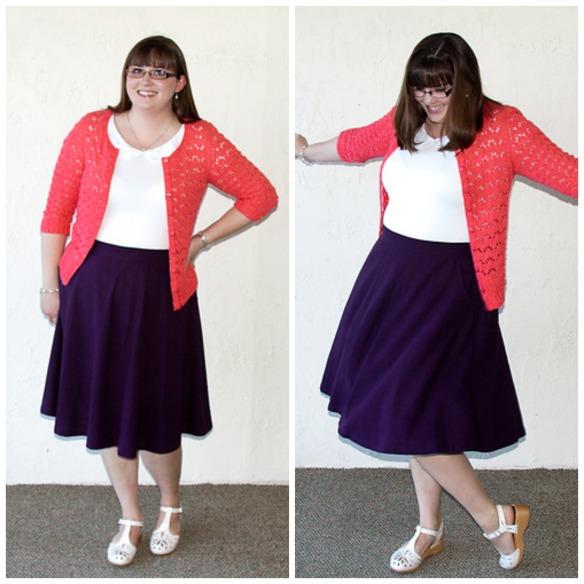 34dde1d1b Meg's sparkly Hetty cardigan, purple Hollyburn skirt, and Eyelet Collared  Top
